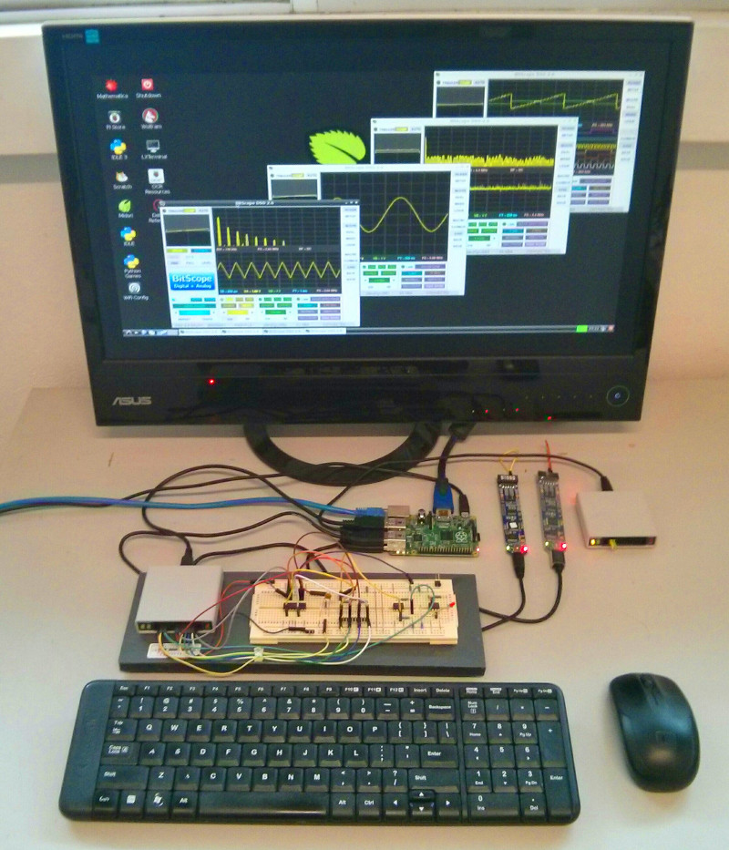 Raspberry Pi B + BitScope = 8 analog + 32 logic !