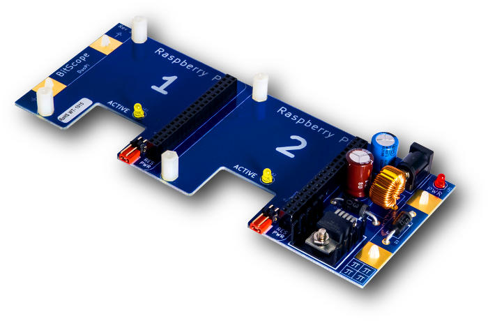 BitScope Blade 02, Duo Pi, Power & Mounting for two Raspberry Pi (Raspberry Pi not included).